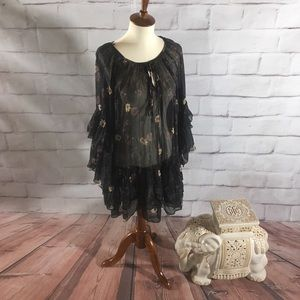 Free People Floral Semi Sheer Tunic